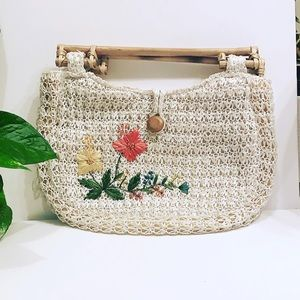 Vintage Boho Woven Clutch with Bamboo Handles